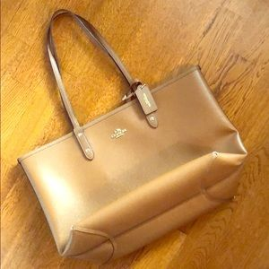 Reversible Leather Coach Tote with Zipper Pouch